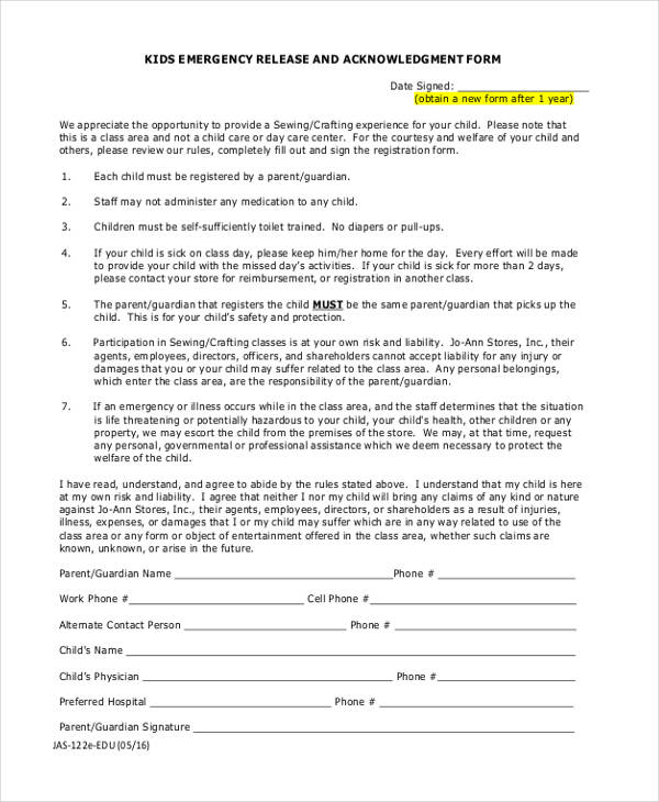 Spring Trip Permission FormParental Release Form Printable Sample