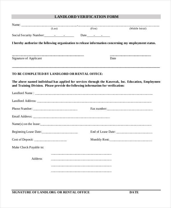 Verification Form Templates - landlord employment verification form