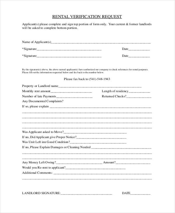 Rental Verification Form Notice To Pay Rent Or Quit Landlord - verification form