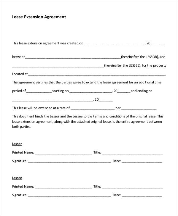 Lease Agreement Form Template - lease extension agreement template