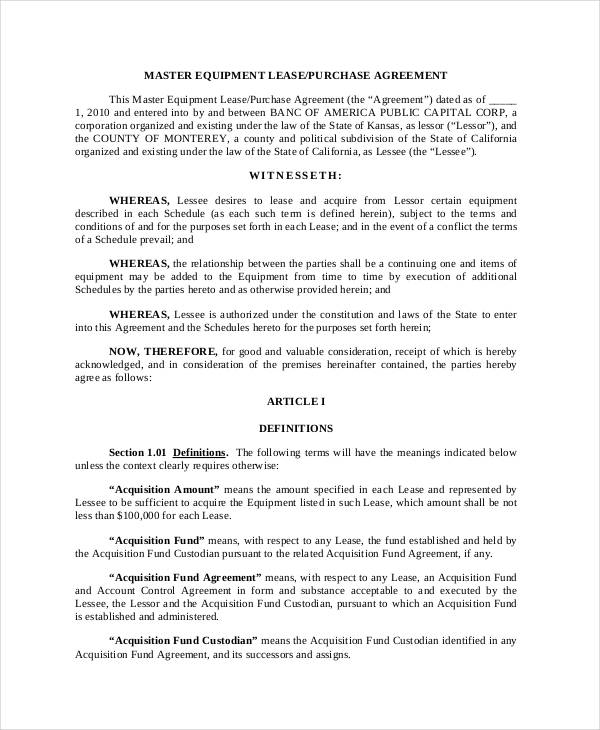 22+ Free Purchase Agreement Form - lease to buy agreement template