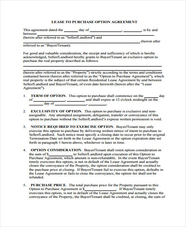 Business Agreement Form Template - lease to buy agreement template
