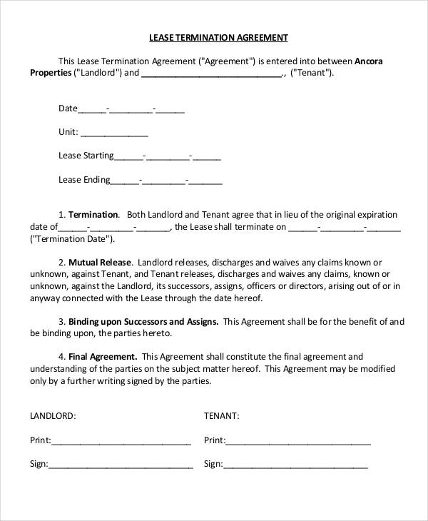 Landlord Lease Termination Letter Writing A Pasture Lease - lease renewal form