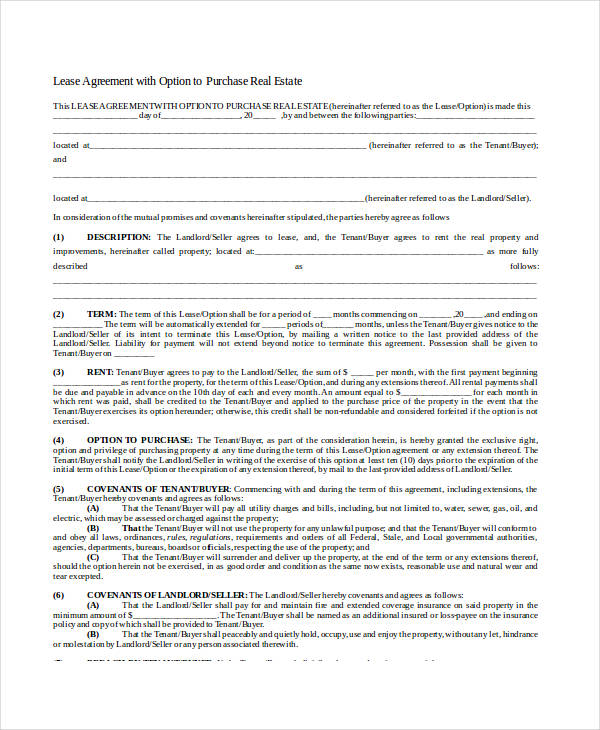 24 Lease Agreement Forms in Doc - lease to buy agreement template