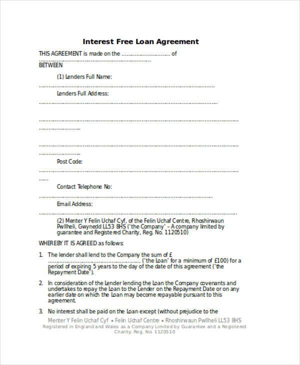 Loan Agreement Form Word - interest free loan agreement