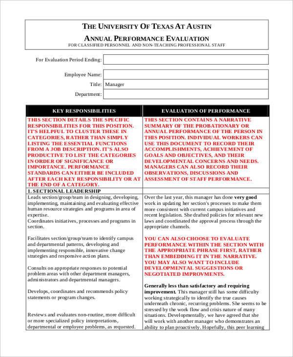 Printable Employee Evaluation Form - staff evaluation form