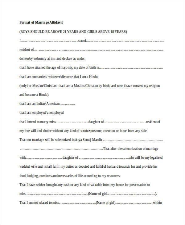 format of affidavit for marriage by third party sample - Line - Affidavit Formats