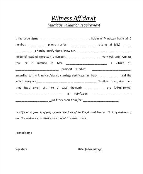 Affidavit Form Template - printable affidavit form