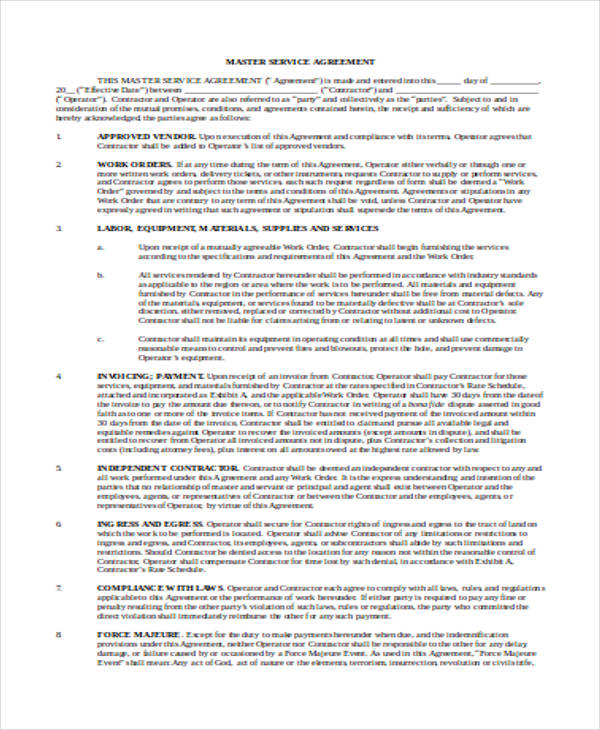 service contract template doc - Goalgoodwinmetals