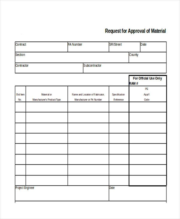 Request Form in Excel - material request form
