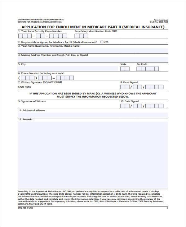 Free Standard Form » medicare part b application form Standard Form - medicare application form