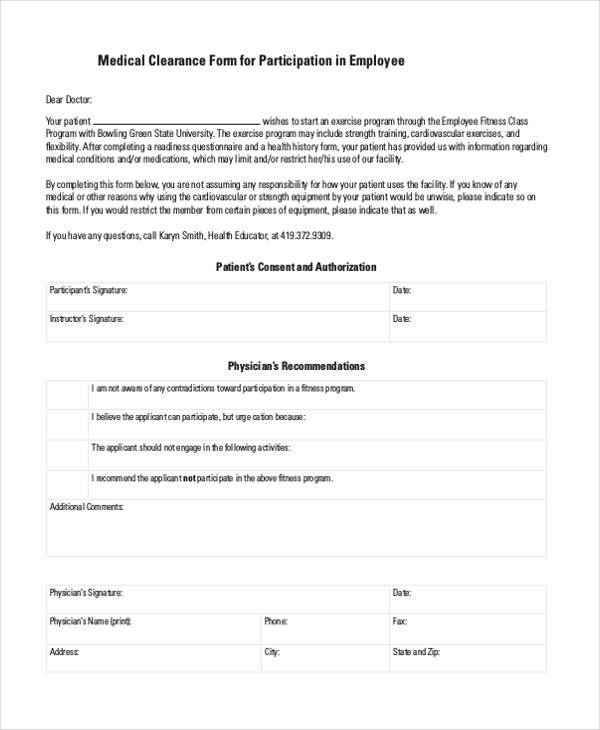 Medical Report Forms - medical clearance forms