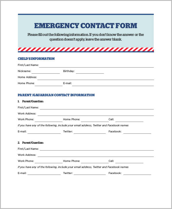 Emergency Contact Forms First Responder - Free Printable - contact form template word