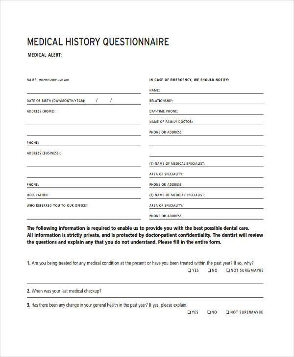 Medical History Questionnaire Form towelbars