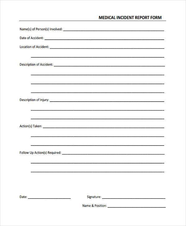 Free Medical Form - medical incident report form