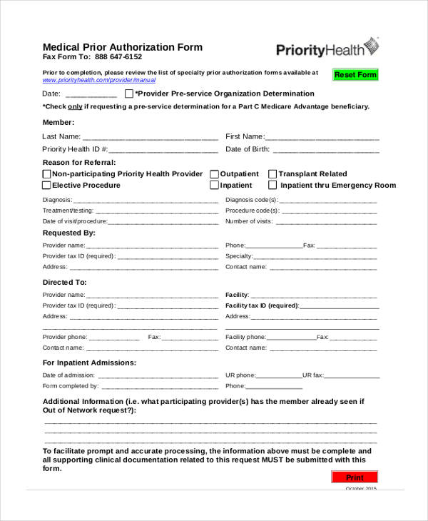 12+ Prior Authorization Form Samples - Free Samples, Examples Format