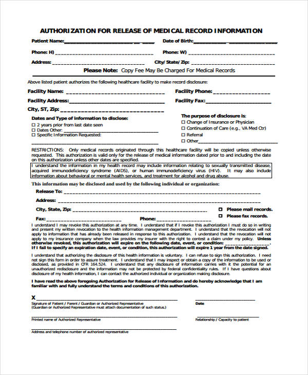 31 Free Medical Release Forms - medical records release form