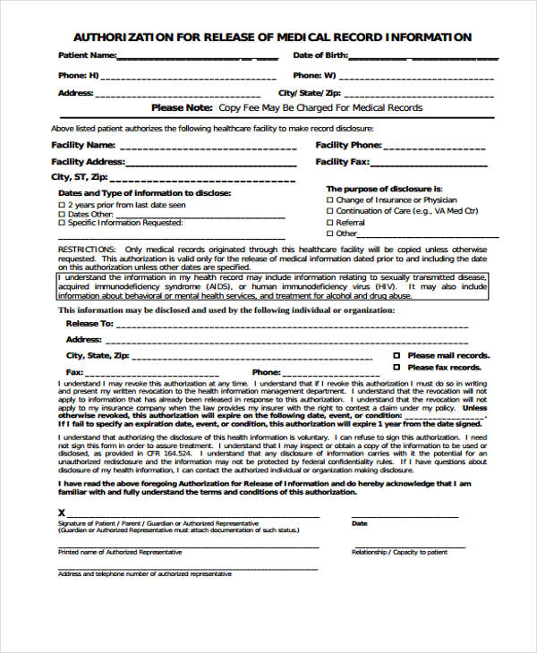 Medical Records Release Forms Medical Form Templates Medical Form - authorization for medical records