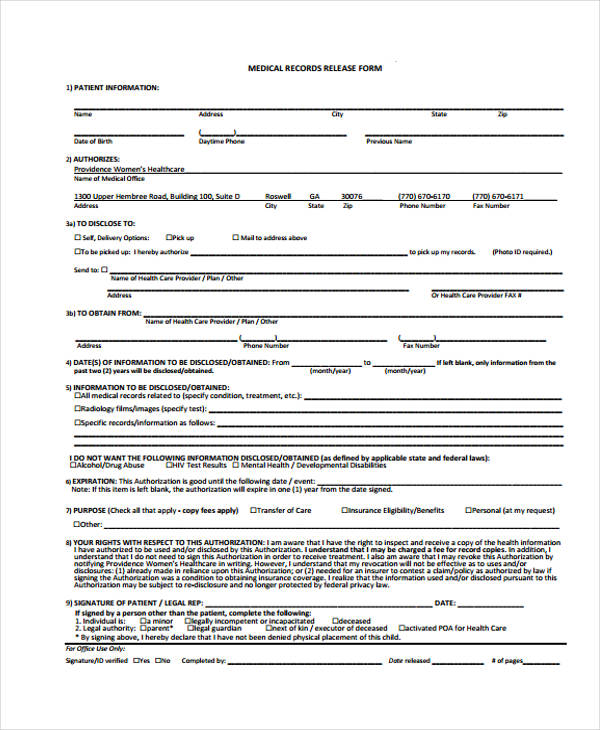 Unique Medical Records Release form Sample Medical Records Release - medical record release form template