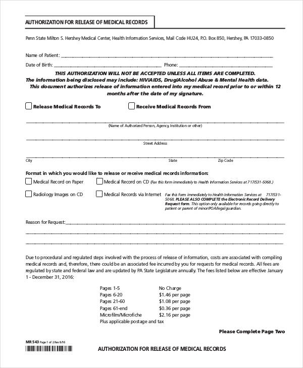 13+ Medical Authorization Form Samples - Free Samples, Examples - authorization for medical records