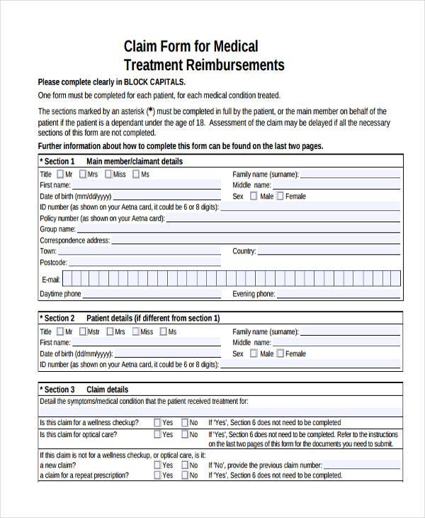 37 Sample Claim Forms - medical claim form