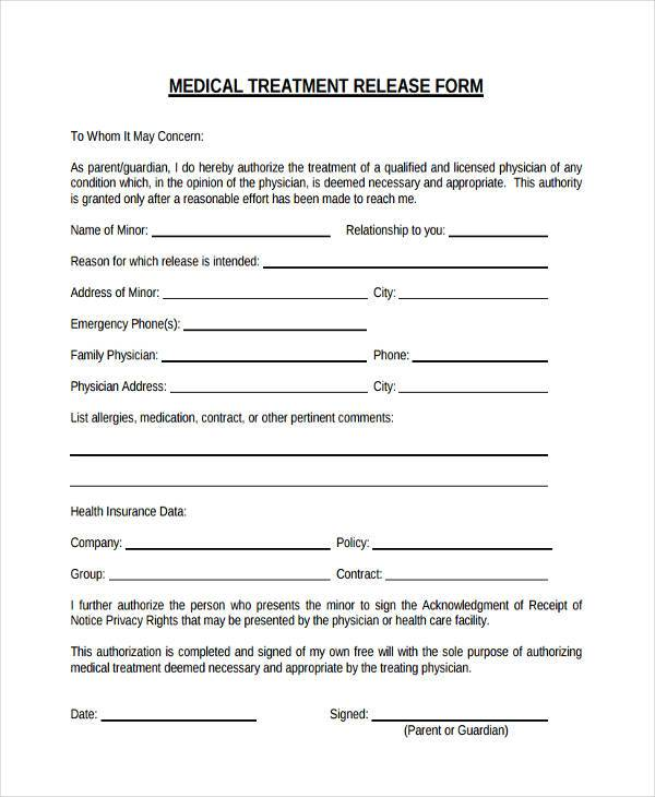 Physician Release Form Medical Release Form Medical Records Release
