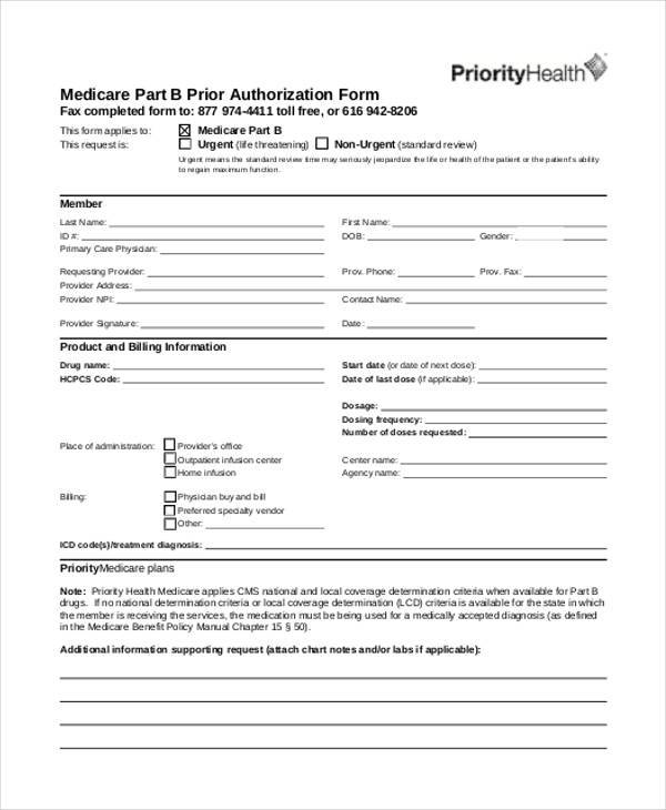 Authorization Form Templates - prior authorization form