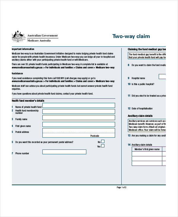 Medicare Claim Form Two Way | Sample Resume Templates For It