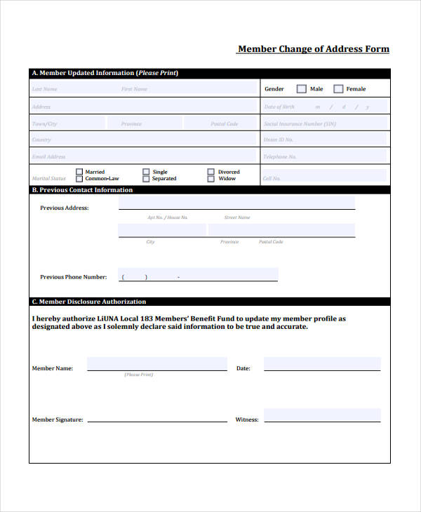 Printable Change Of Address Form - Arch-times - Printable Address Change Form