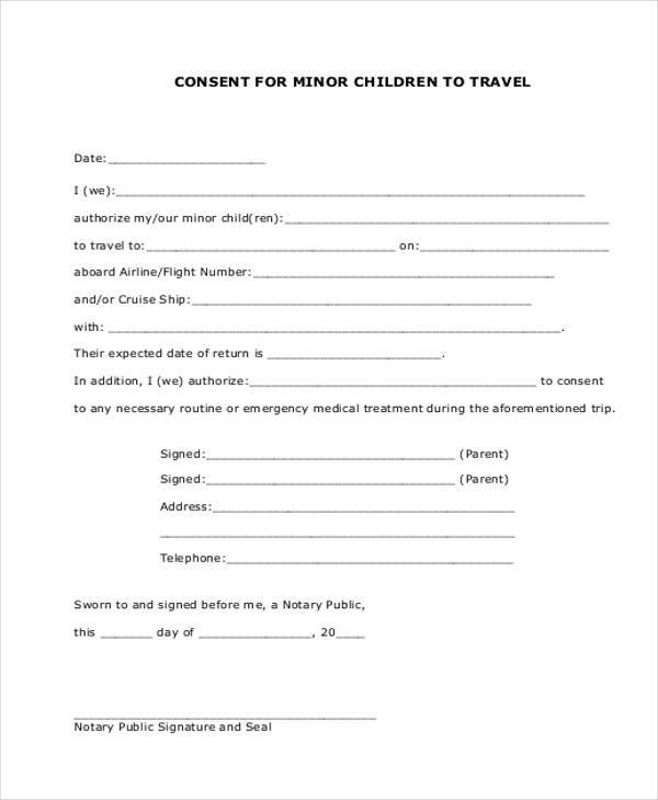 Child Travel Consent Form - Arch-times