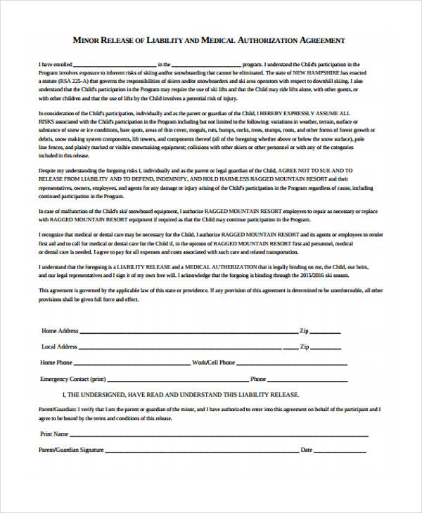24 Medical Release Form Templates - liability release template