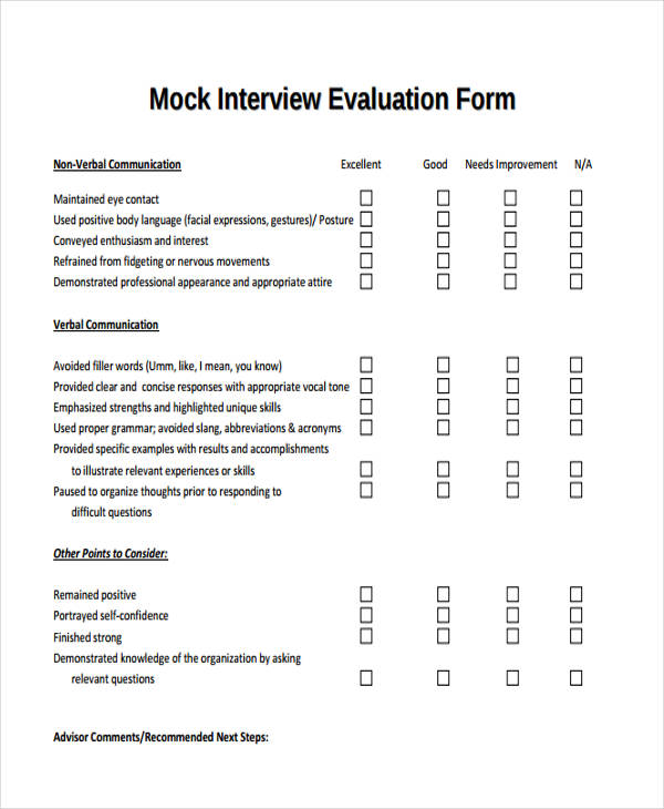 Self-Evaluation Form Templates - interview assessment forms