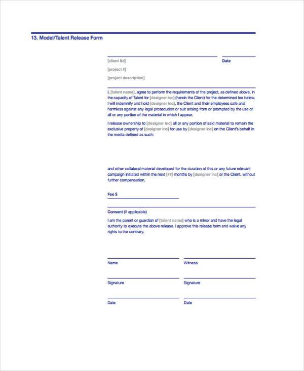 Release Form Templates - Talent Release Form Template