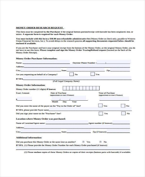 Sample Order Forms