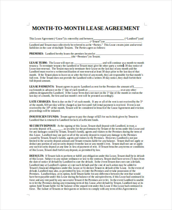 40 Sample Lease Agreement Forms - sample lease agreement form