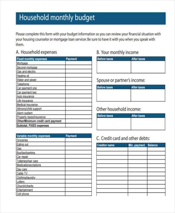 Free Budget Forms