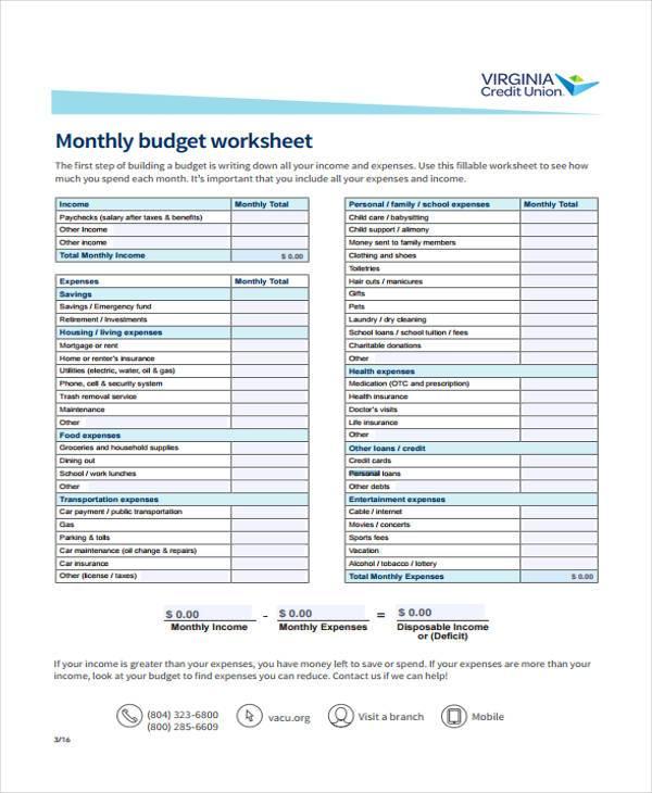 personal budgeting forms - Josemulinohouse