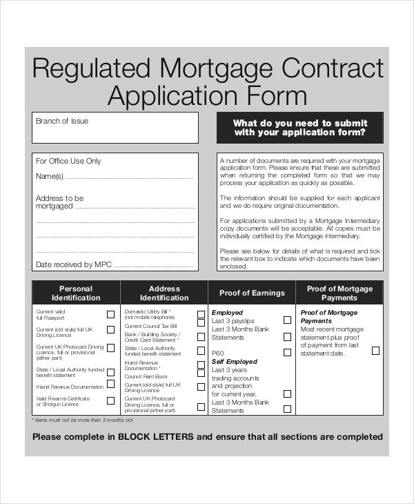 10+ Sample Mortgage Application Form - Free Sample, Example Format - mortgage contract template