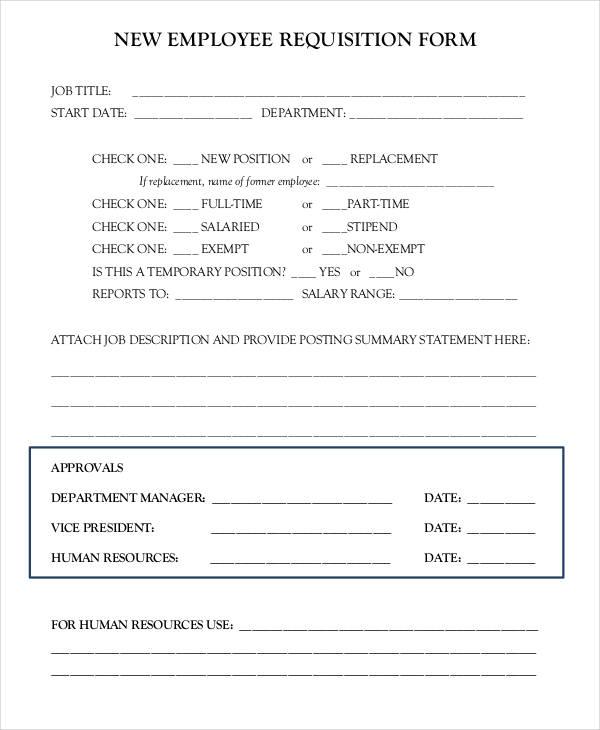 employment requisition form sample - Ozilalmanoof - sample requisition form
