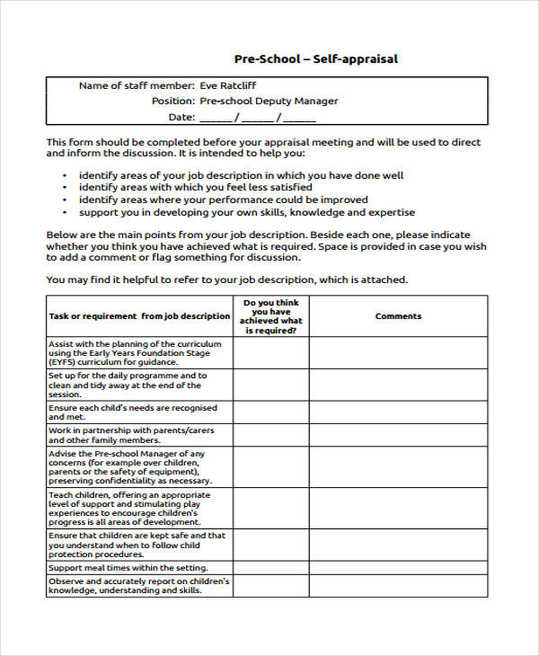Employee Appraisal Form Sample  Medicare Application Form Cms I