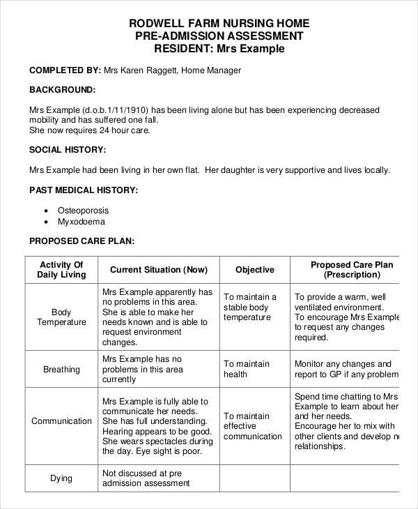Nursing Assessment Forms oakandale