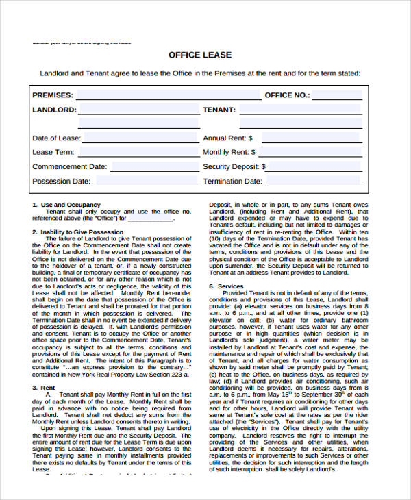 40 Sample Lease Agreement Forms Sample Office Lease Agreement Template