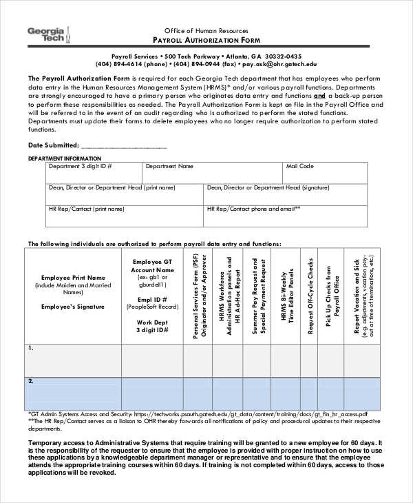 payroll authorization form - Patrofiveloclub - payroll authorization form