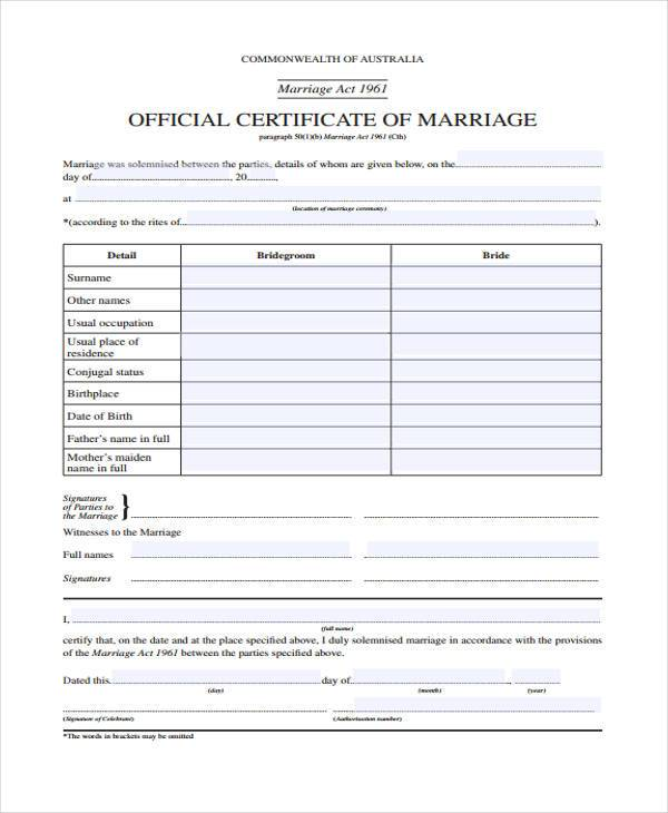 Sample Marriage Certificate Marriage Certificate Template - marriage contract template