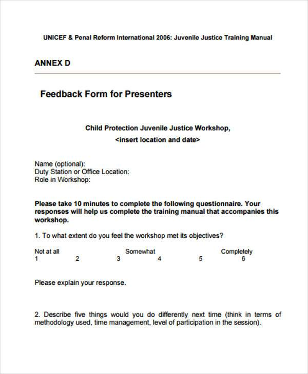 Feedback Form Templates - Workshop Feedback Form