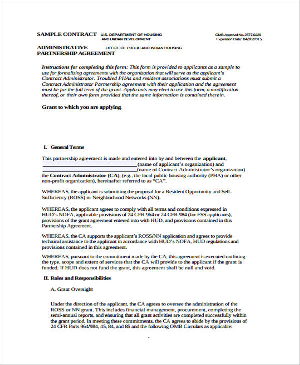 Business Agreement Form Template - partnership agreement contract