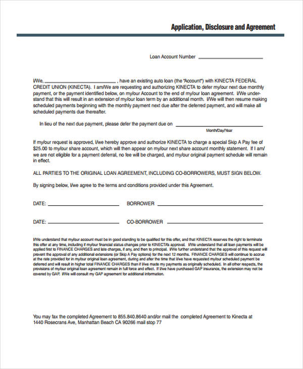 Loan Agreement Fee Images - Agreement Letter Format