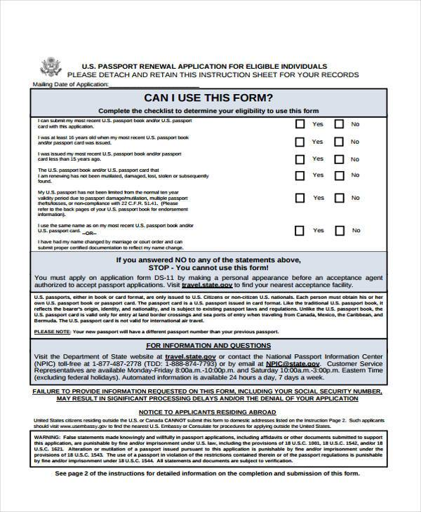 Application Forms Example   Passport Renewal Application Form