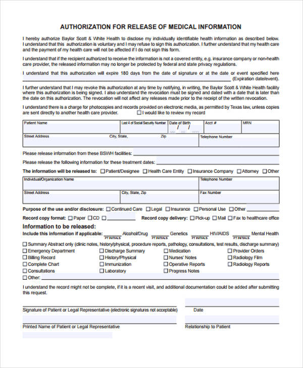 Patient Release Form Template - Medical Information Release Form