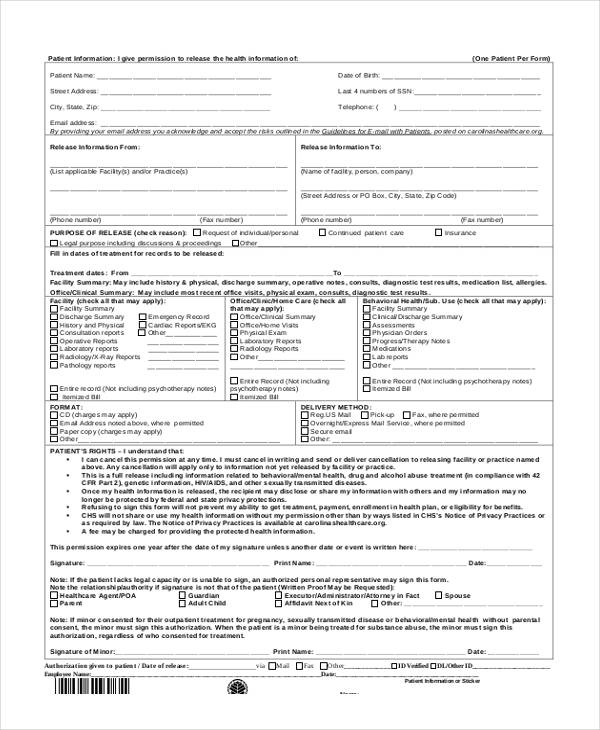 19 Free Patient Release Forms - medical information release form